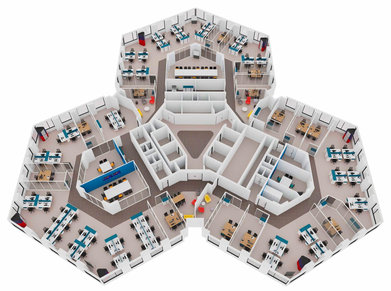 plan 3D Aménagement de bureaux